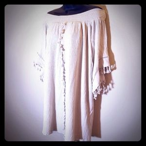 Cream Boho off the shoulder dress or long tunic L